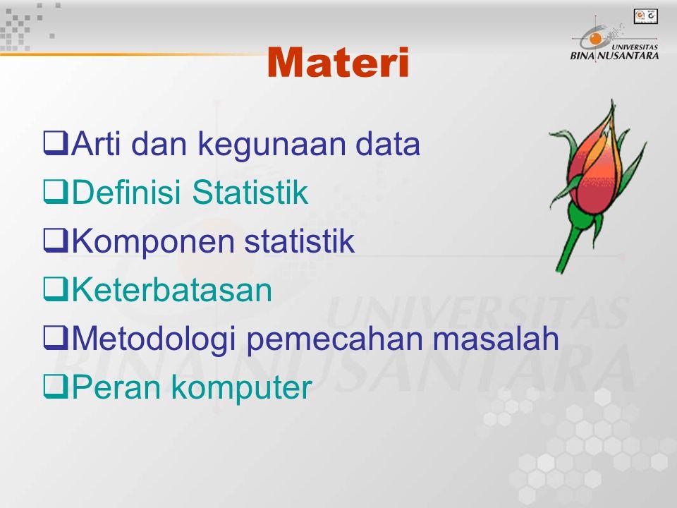Materi Arti dan kegunaan data Definisi Statistik Komponen statistik