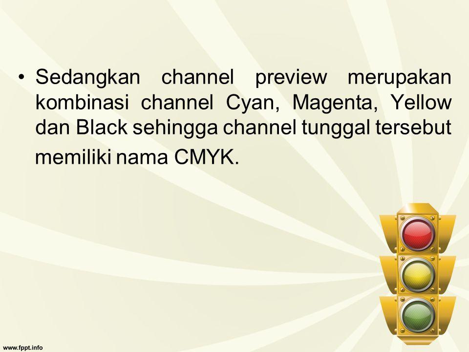 Sedangkan channel preview merupakan kombinasi channel Cyan, Magenta, Yellow dan Black sehingga channel tunggal tersebut