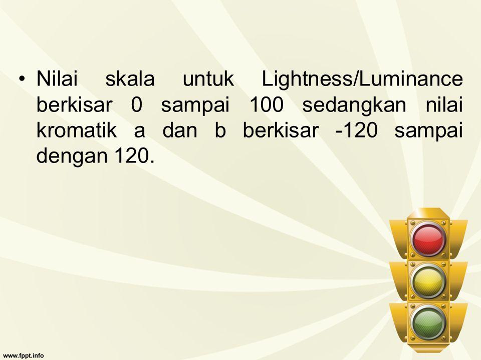 Nilai skala untuk Lightness/Luminance berkisar 0 sampai 100 sedangkan nilai kromatik a dan b berkisar -120 sampai dengan 120.