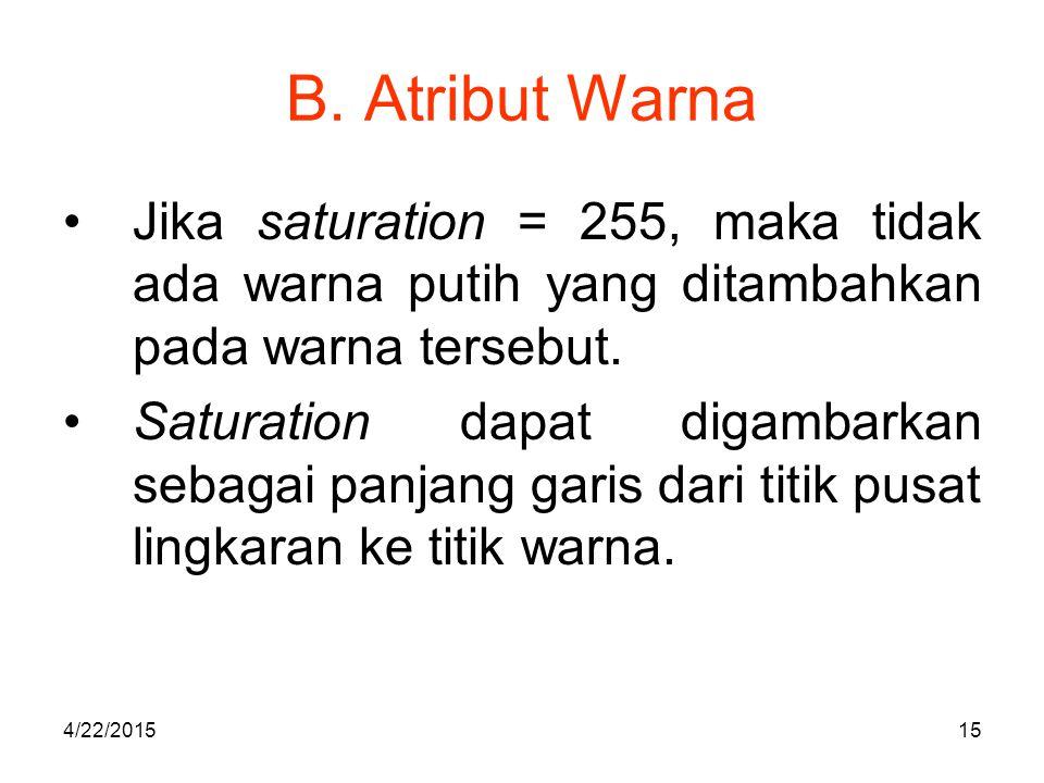 B. Atribut Warna Jika saturation = 255, maka tidak ada warna putih yang ditambahkan pada warna tersebut.