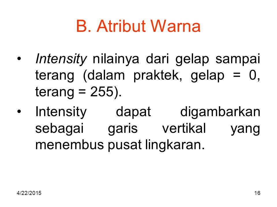 B. Atribut Warna Intensity nilainya dari gelap sampai terang (dalam praktek, gelap = 0, terang = 255).