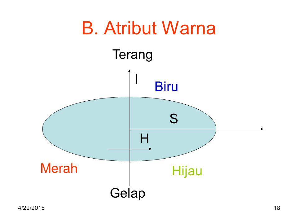 B. Atribut Warna Terang I Biru S H Merah Hijau Gelap 4/14/2017