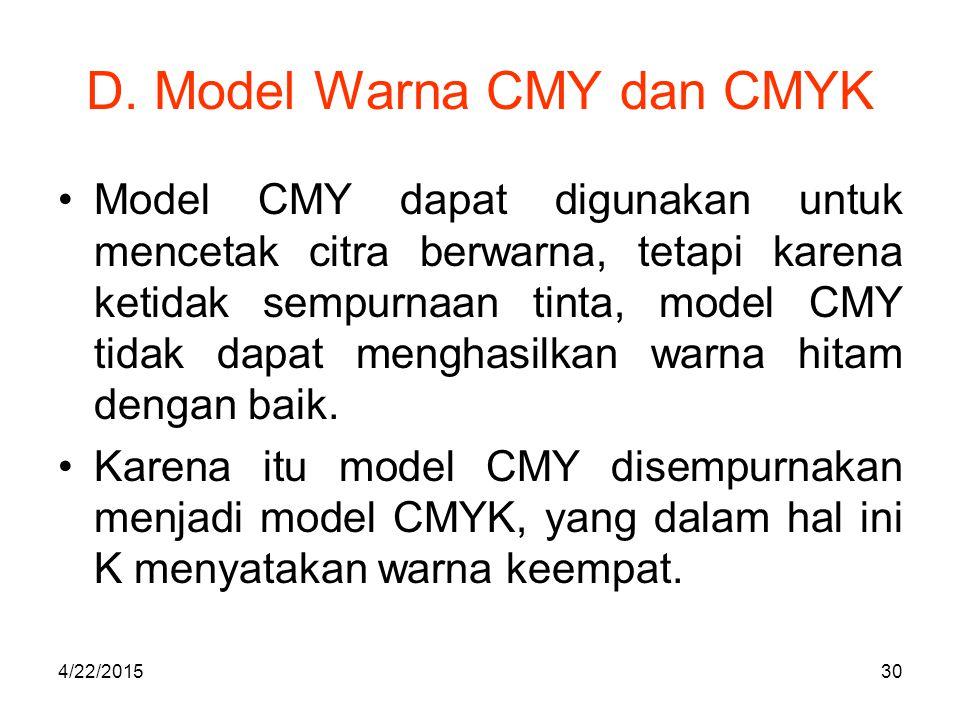 D. Model Warna CMY dan CMYK