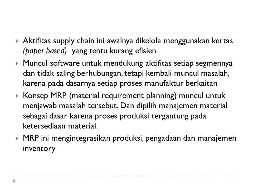 Aktifitas supply chain ini awalnya dikelola menggunakan kertas (paper based) yang tentu kurang efisien