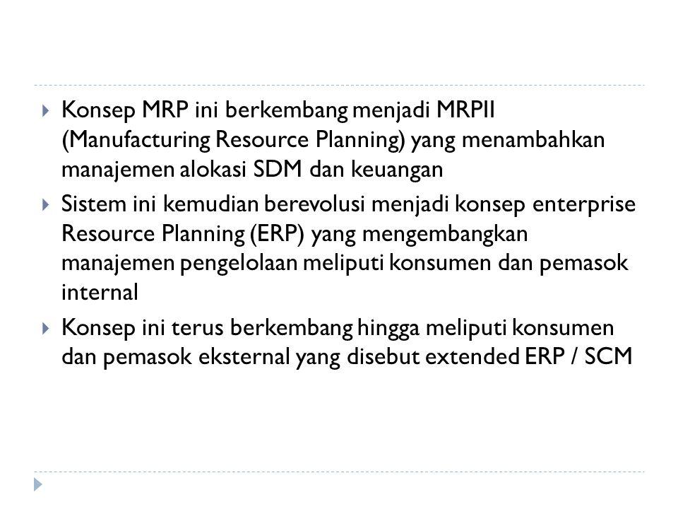 Konsep MRP ini berkembang menjadi MRPII (Manufacturing Resource Planning) yang menambahkan manajemen alokasi SDM dan keuangan