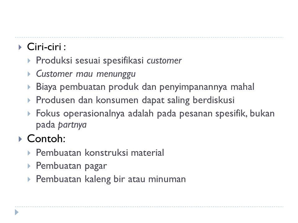 Contoh: Ciri-ciri : Produksi sesuai spesifikasi customer