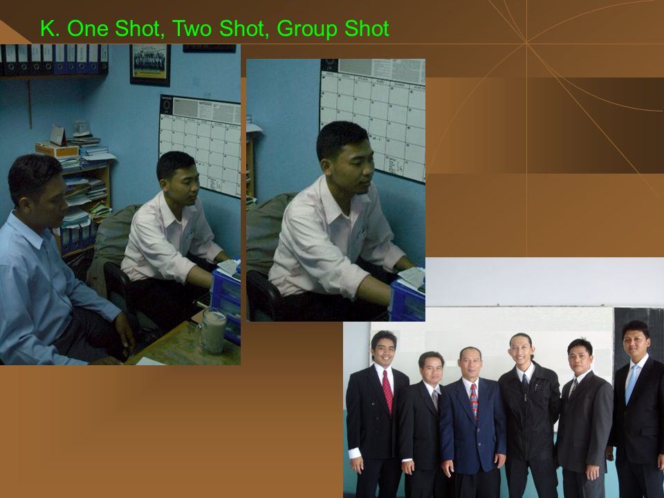 K. One Shot, Two Shot, Group Shot