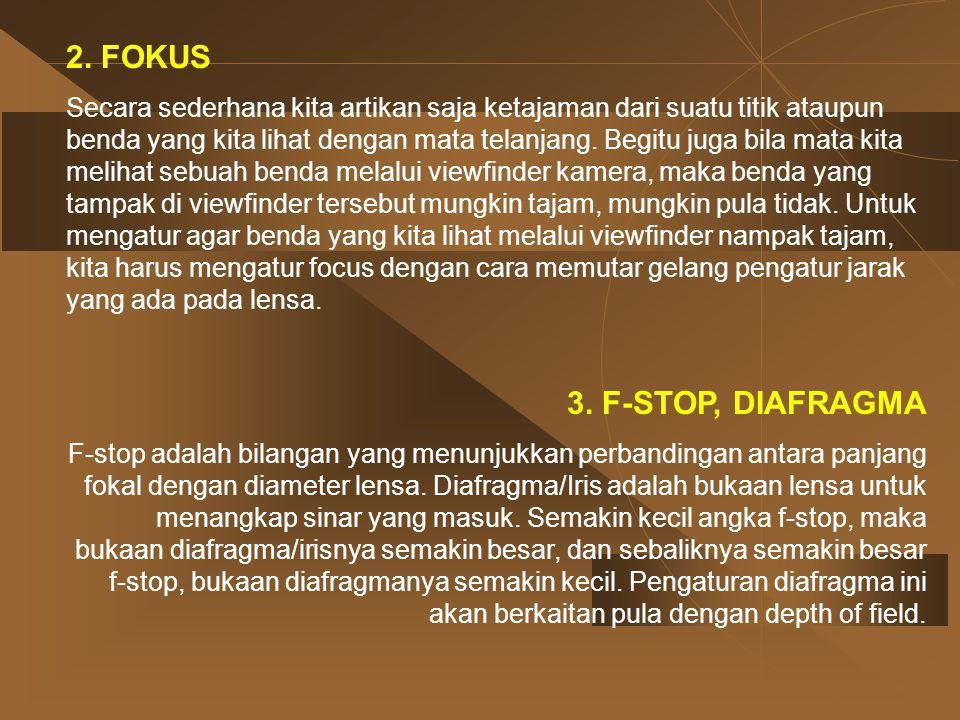 2. FOKUS 3. F-STOP, DIAFRAGMA