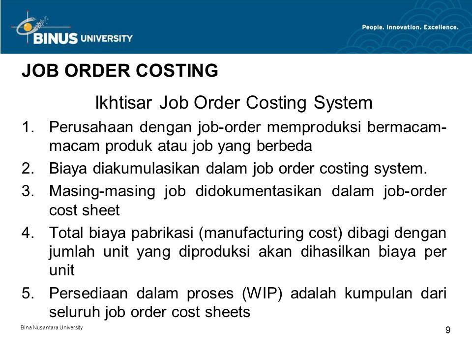 Ikhtisar Job Order Costing System