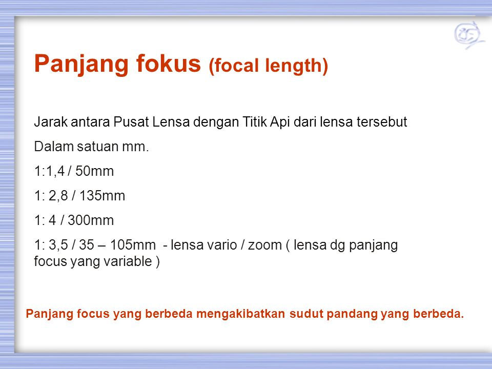Panjang fokus (focal length)