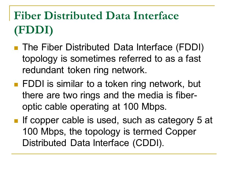 Fiber Distributed Data Interface (FDDI)