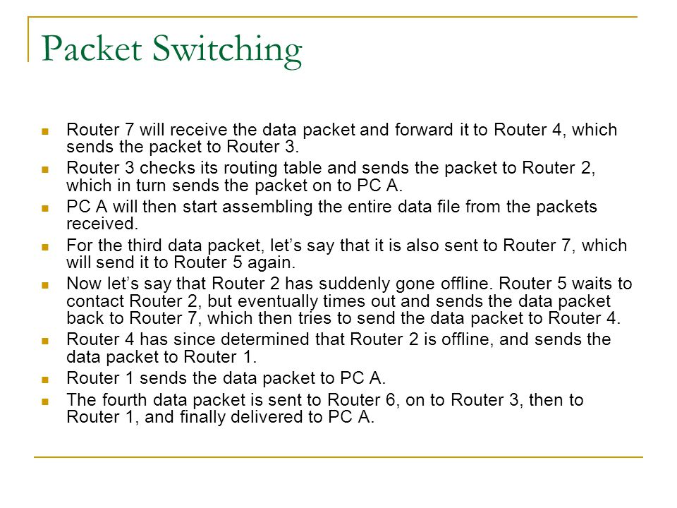 Packet Switching Router 7 will receive the data packet and forward it to Router 4, which sends the packet to Router 3.