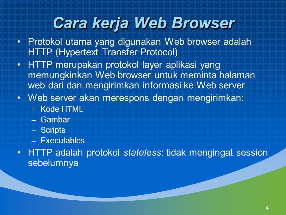 Cara kerja Web Browser Protokol utama yang digunakan Web browser adalah HTTP (Hypertext Transfer Protocol)