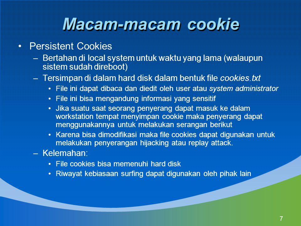 Macam-macam cookie Persistent Cookies