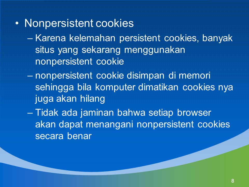 Nonpersistent cookies