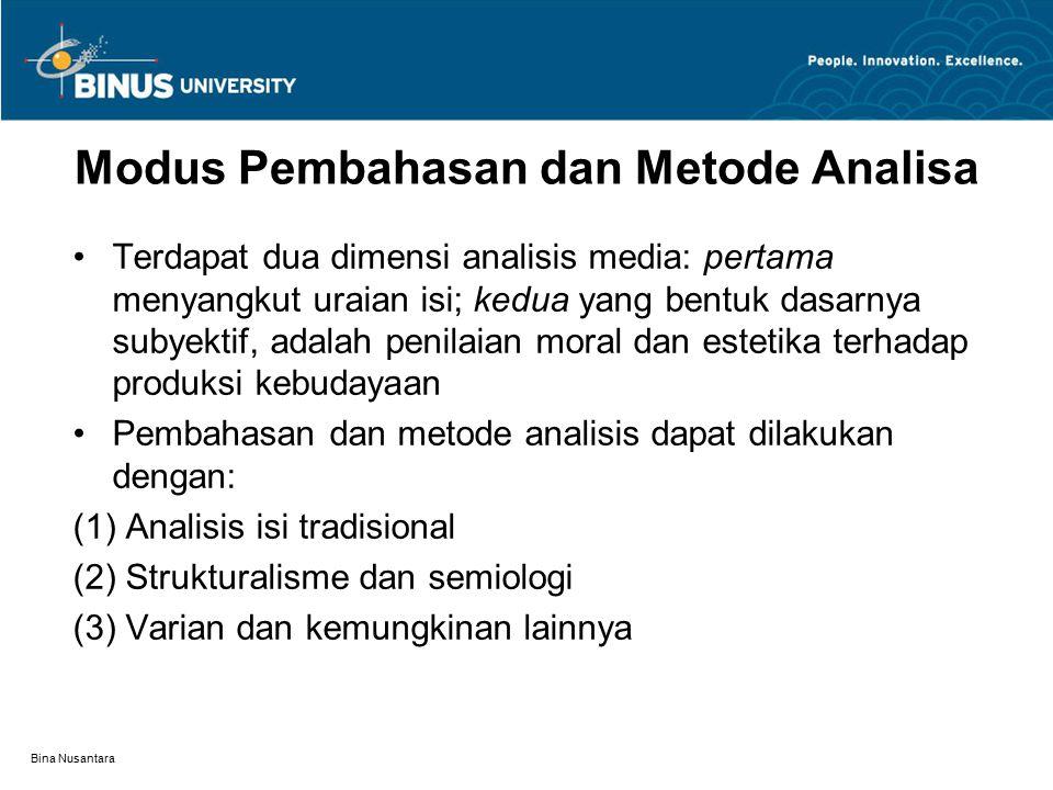 Modus Pembahasan dan Metode Analisa