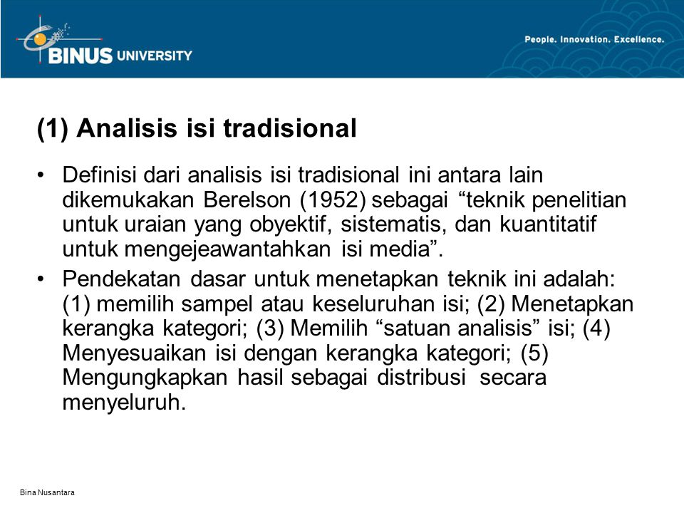 (1) Analisis isi tradisional
