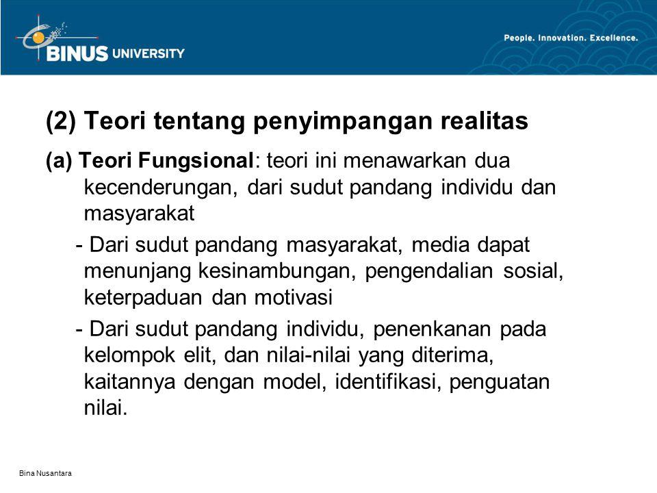 (2) Teori tentang penyimpangan realitas