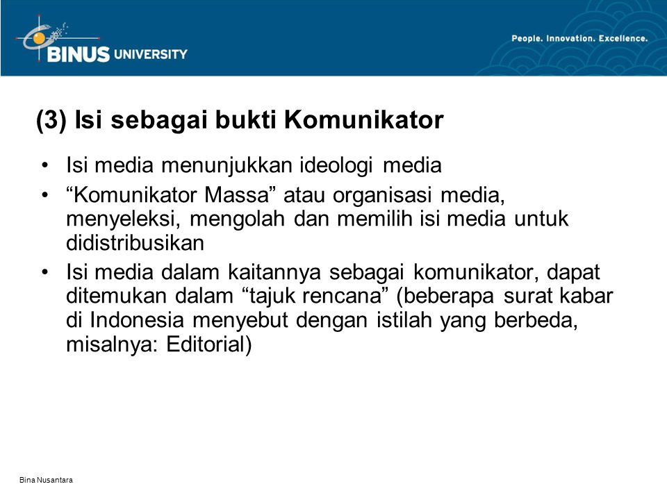 (3) Isi sebagai bukti Komunikator