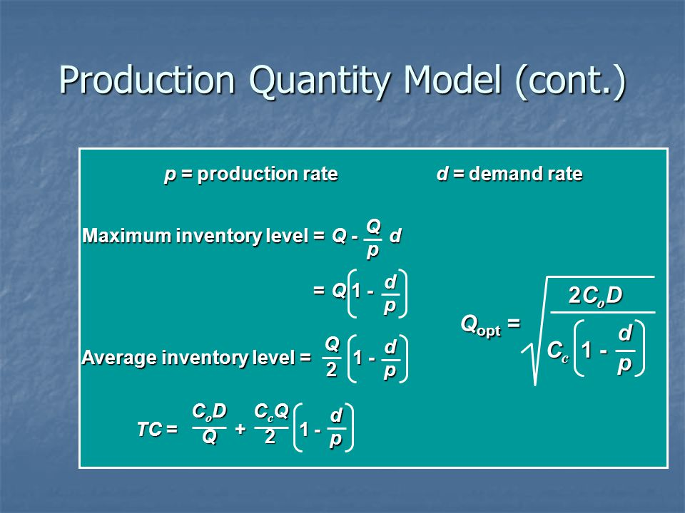 Production Quantity Model (cont.)