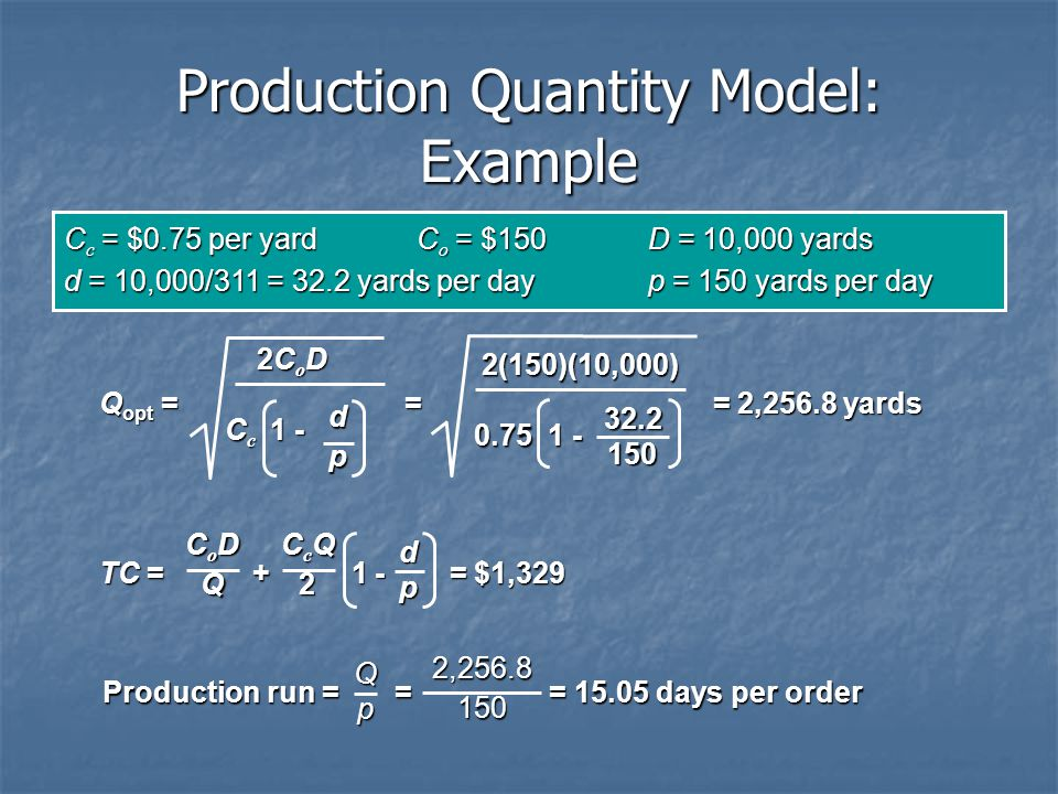 Production Quantity Model: Example
