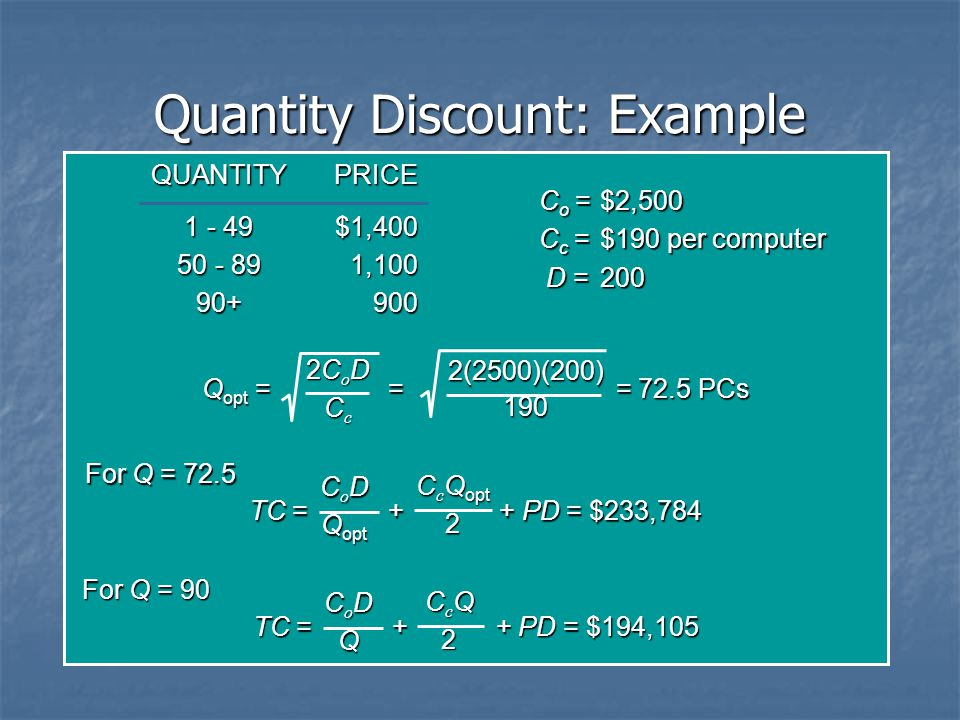 Quantity Discount: Example