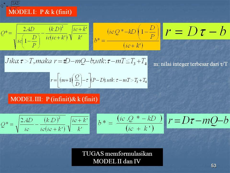 TUGAS memformulasikan MODEL II dan IV