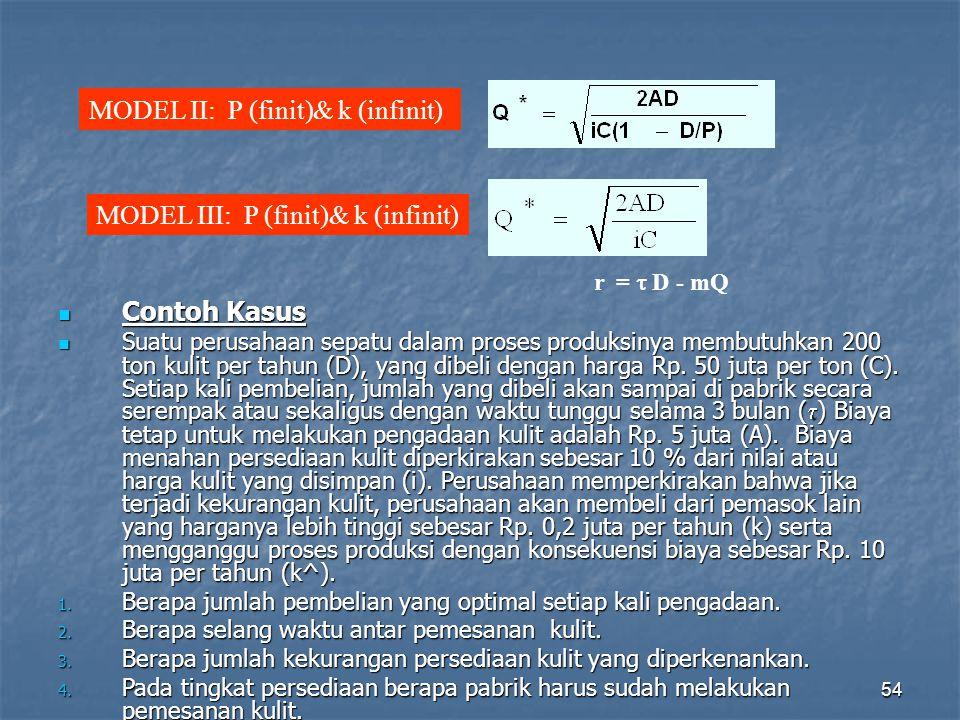 MODEL II: P (finit)& k (infinit)