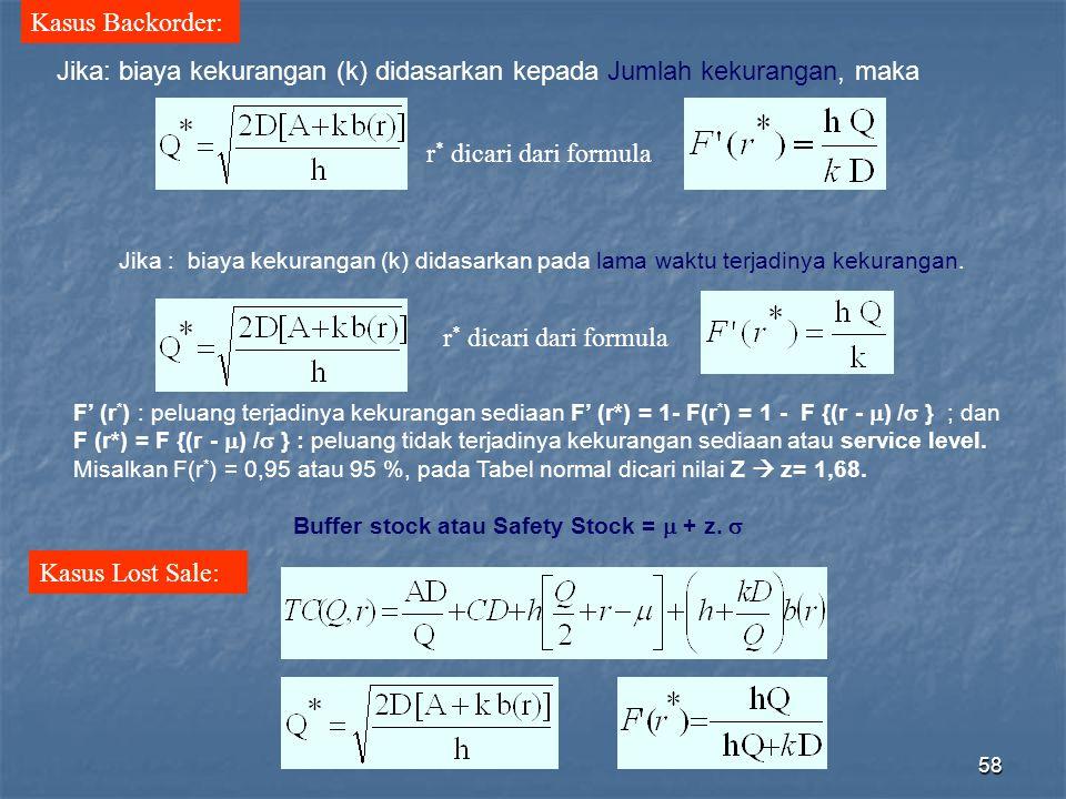 Jika: biaya kekurangan (k) didasarkan kepada Jumlah kekurangan, maka