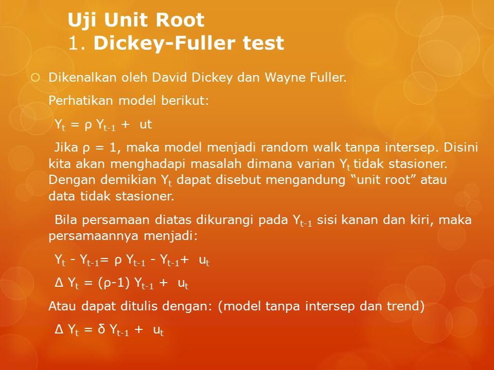Uji Unit Root 1. Dickey-Fuller test