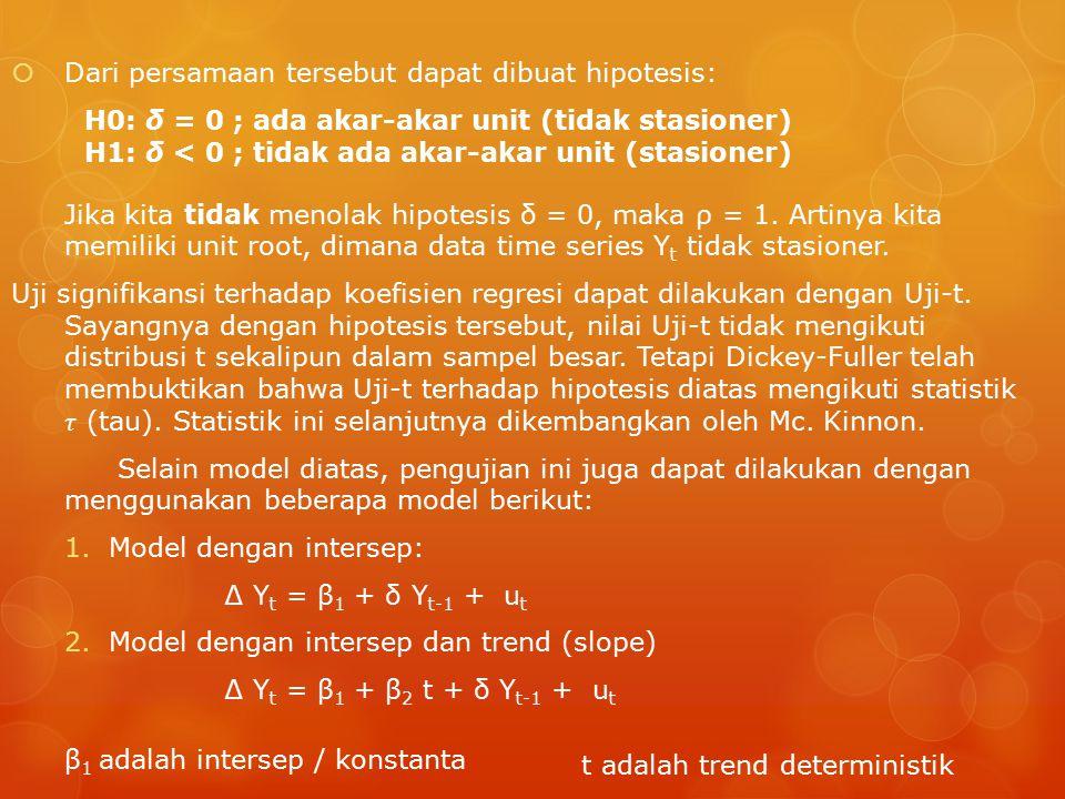 H1: δ < 0 ; tidak ada akar-akar unit (stasioner)