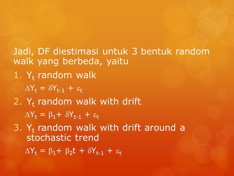 Jadi, DF diestimasi untuk 3 bentuk random walk yang berbeda, yaitu