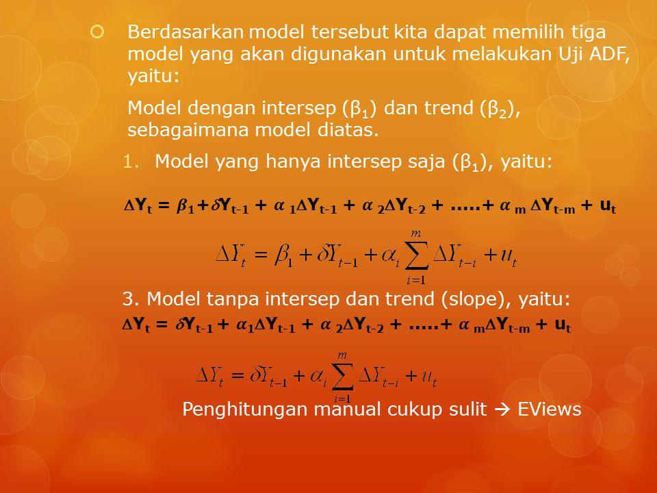Model dengan intersep (β1) dan trend (β2), sebagaimana model diatas.