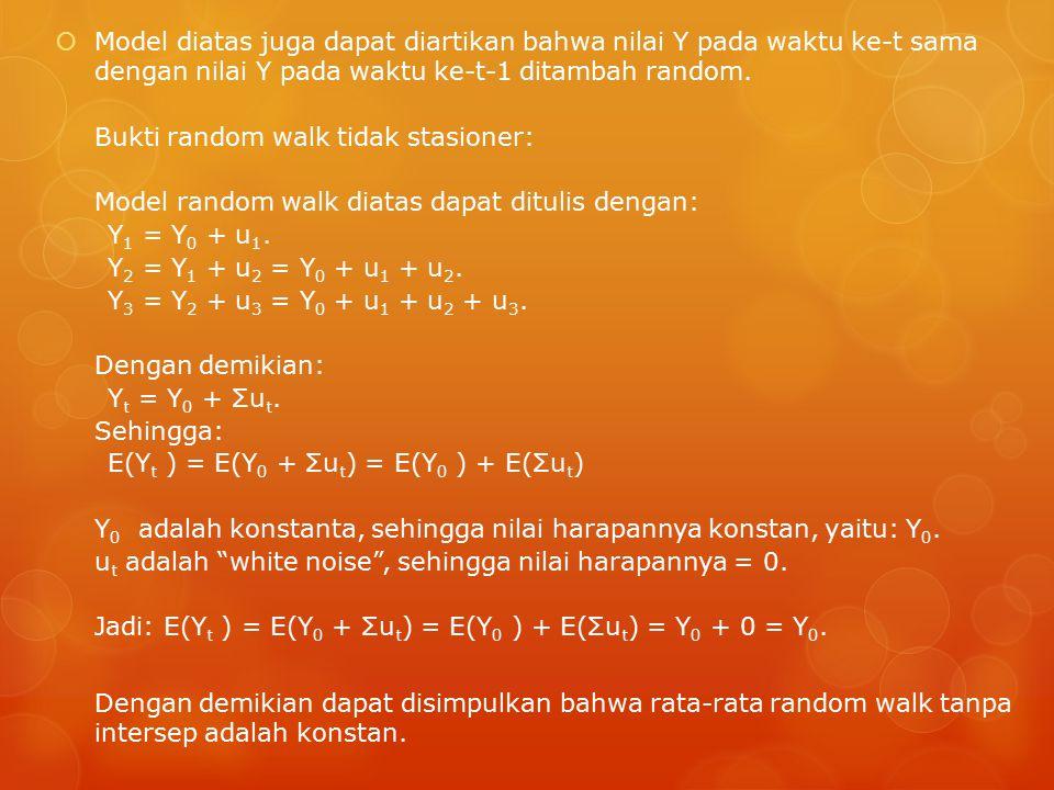 Model diatas juga dapat diartikan bahwa nilai Y pada waktu ke-t sama dengan nilai Y pada waktu ke-t-1 ditambah random.