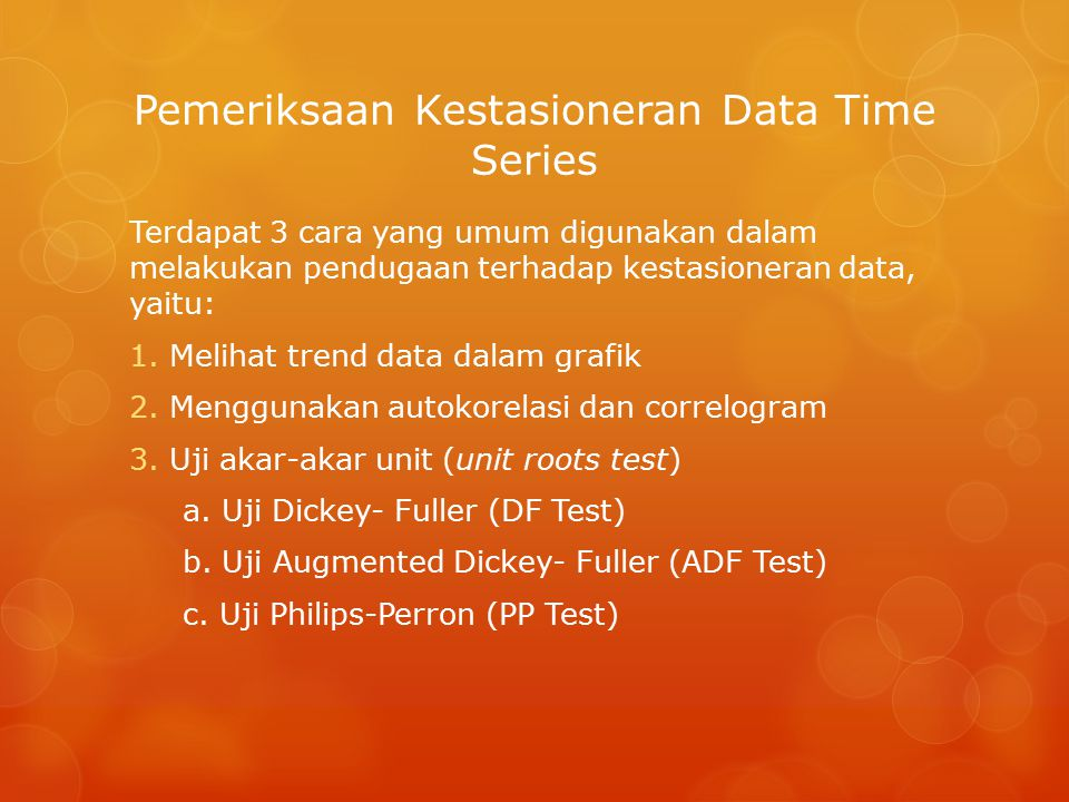 Pemeriksaan Kestasioneran Data Time Series