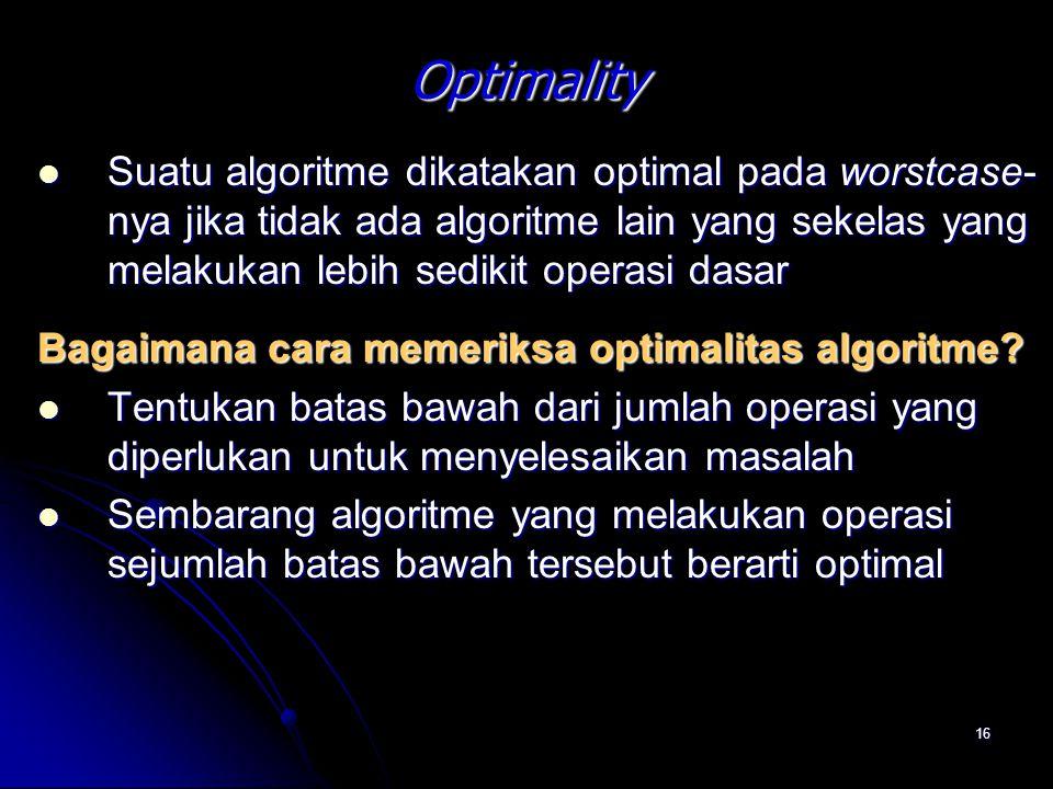 Optimality Suatu algoritme dikatakan optimal pada worstcase-nya jika tidak ada algoritme lain yang sekelas yang melakukan lebih sedikit operasi dasar.