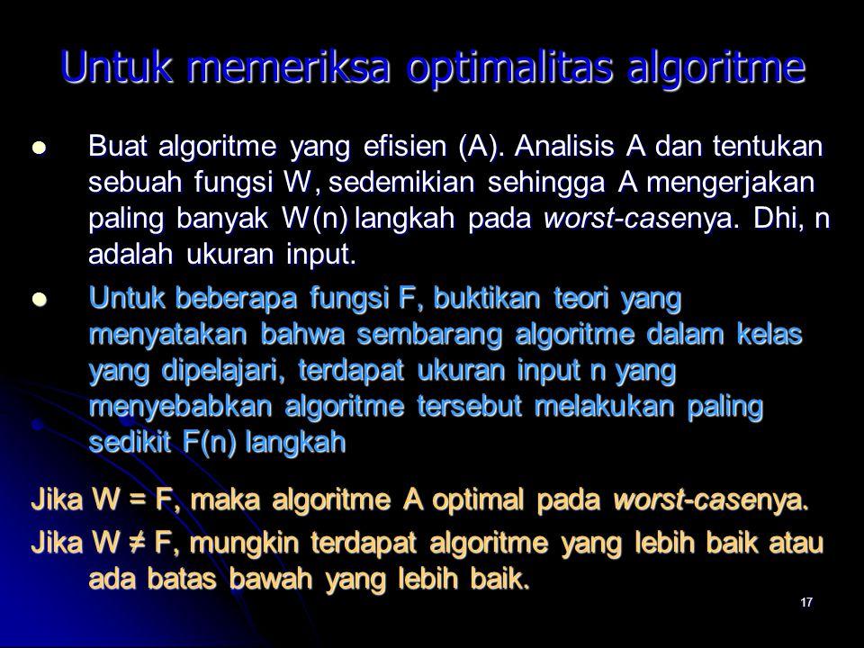 Untuk memeriksa optimalitas algoritme