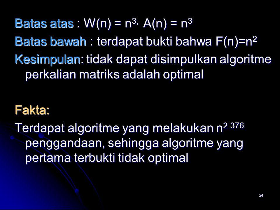 Batas atas : W(n) = n3, A(n) = n3