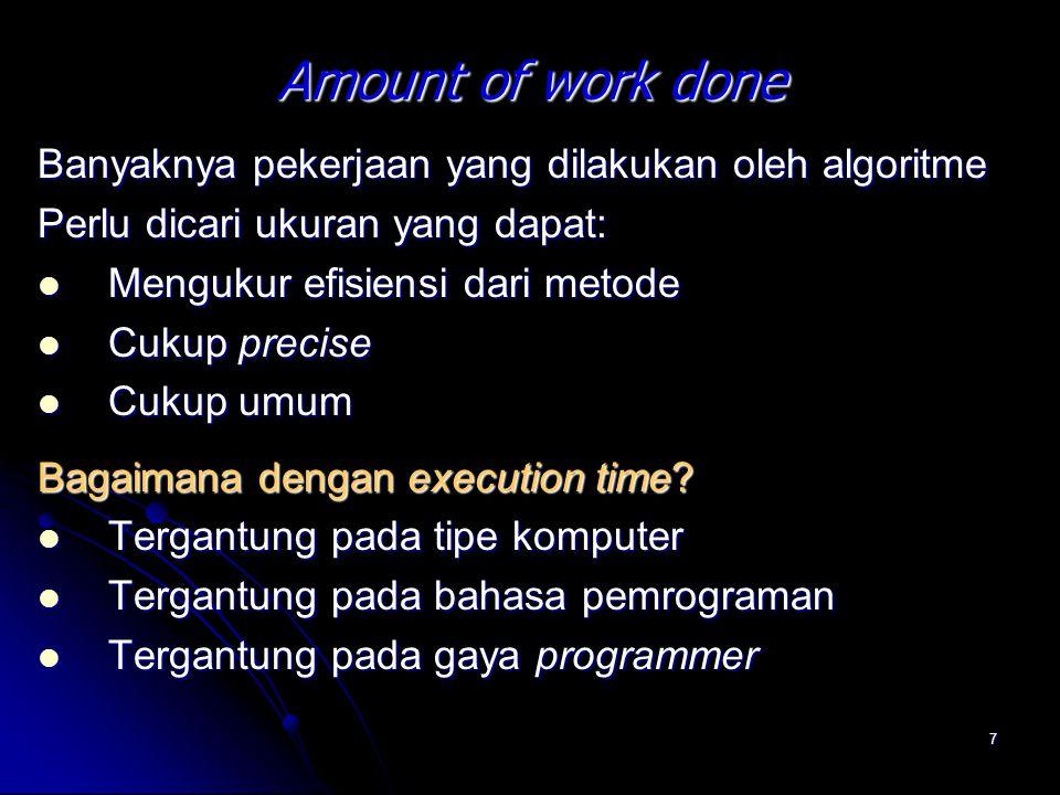 Amount of work done Banyaknya pekerjaan yang dilakukan oleh algoritme