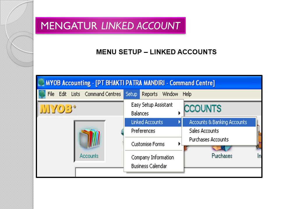 MENU SETUP – LINKED ACCOUNTS