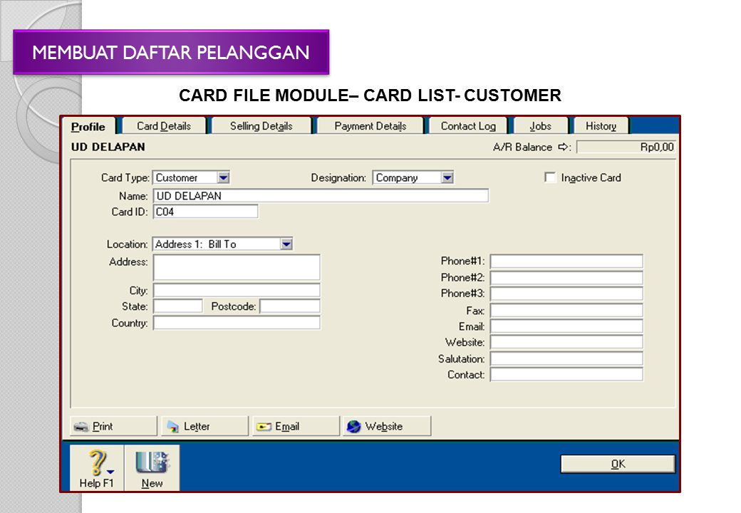 CARD FILE MODULE– CARD LIST- CUSTOMER