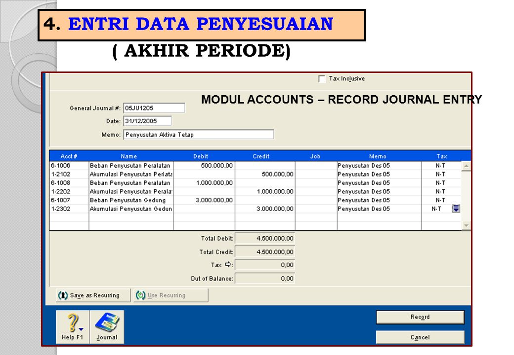 MODUL ACCOUNTS – RECORD JOURNAL ENTRY