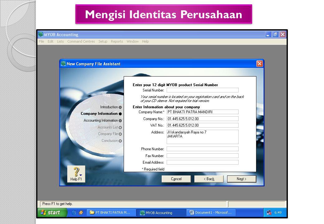 Mengisi Identitas Perusahaan