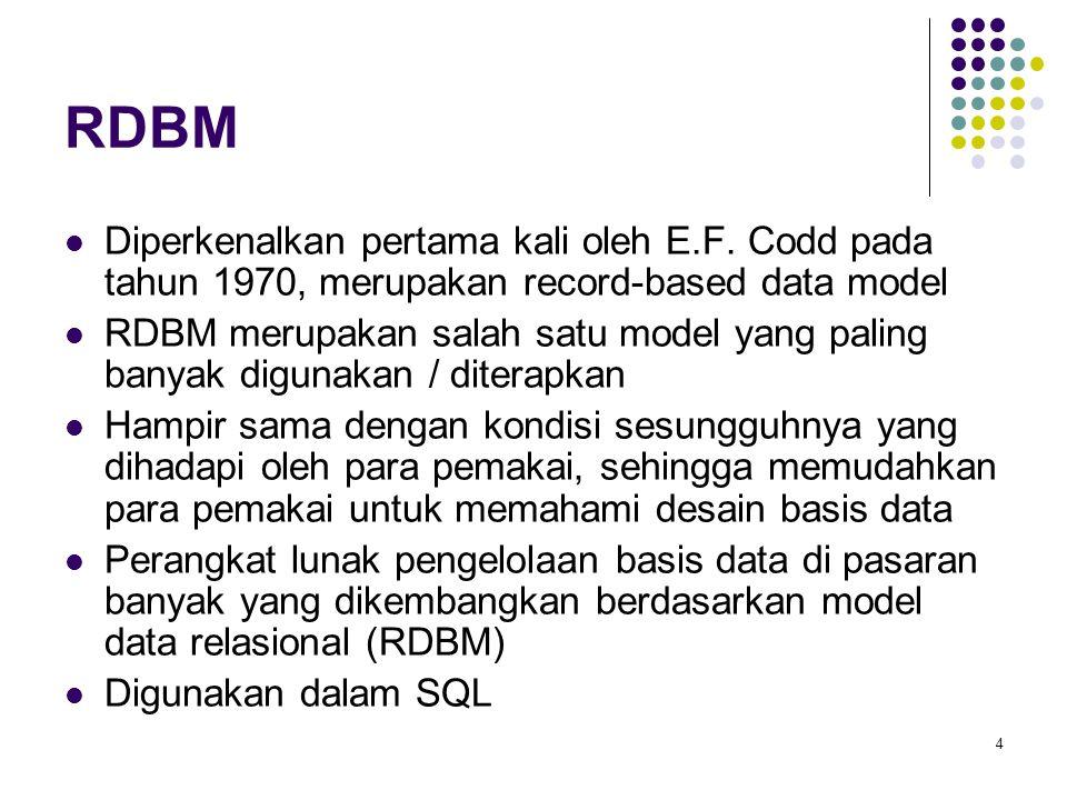 RDBM Diperkenalkan pertama kali oleh E.F. Codd pada tahun 1970, merupakan record-based data model.