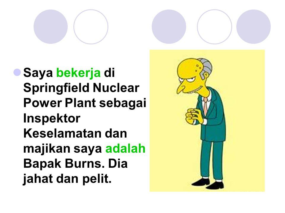 Saya bekerja di Springfield Nuclear Power Plant sebagai Inspektor Keselamatan dan majikan saya adalah Bapak Burns.