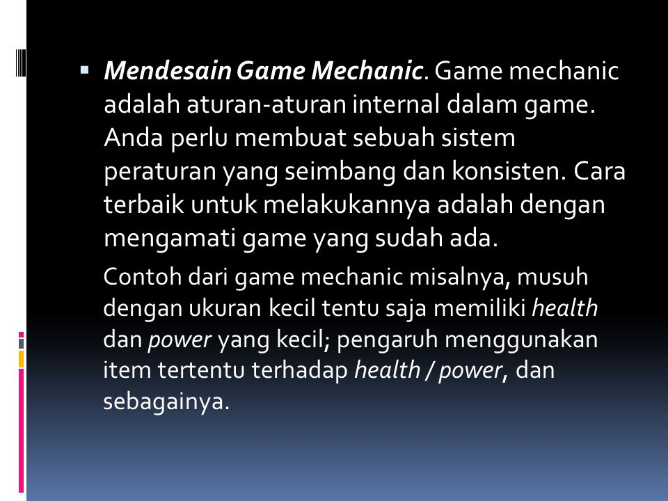 Mendesain Game Mechanic