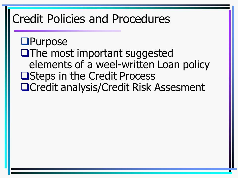 Credit Policies and Procedures