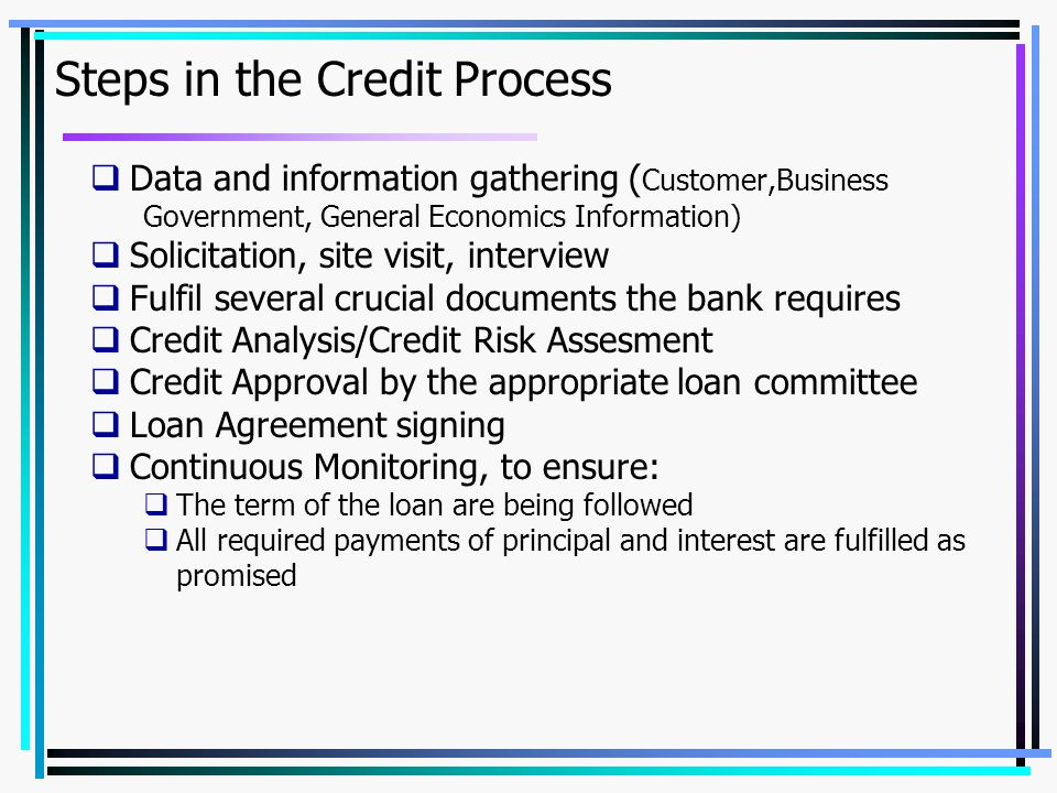 Steps in the Credit Process