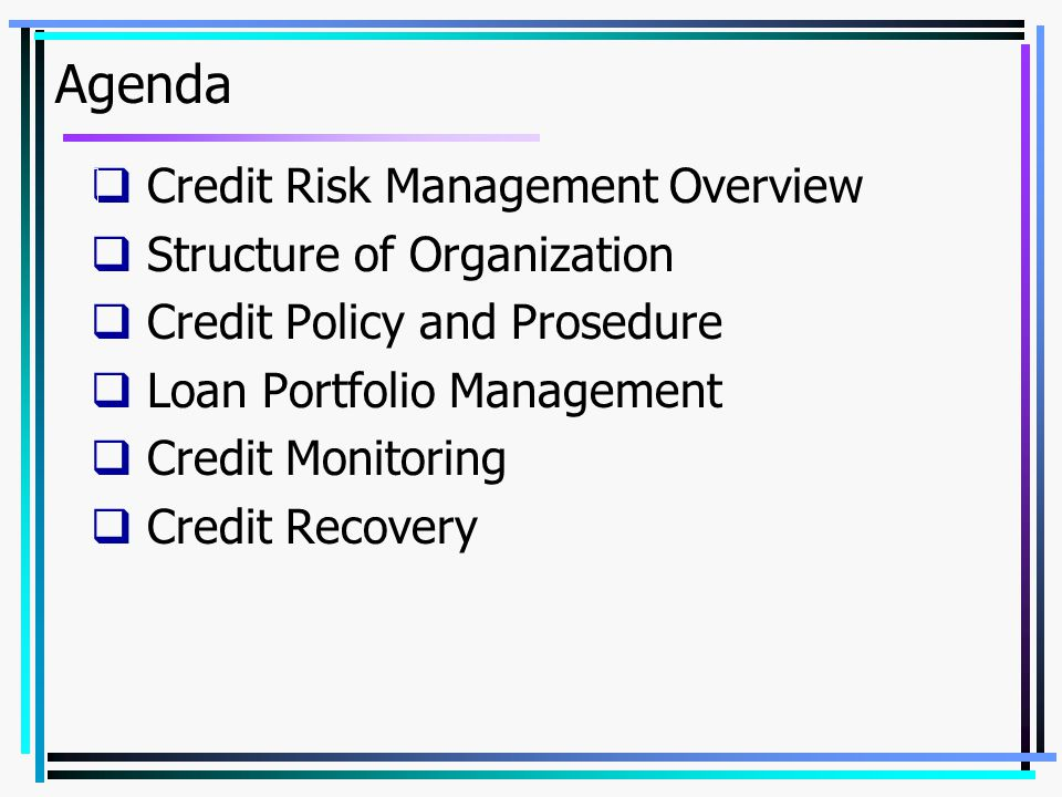 Agenda Credit Risk Management Overview Structure of Organization