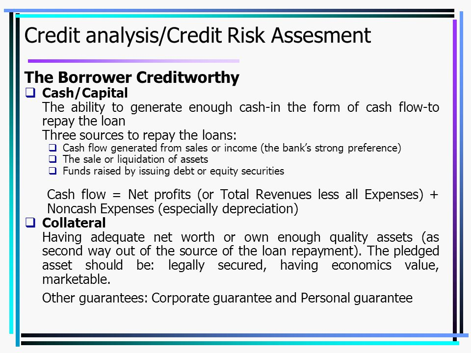 Credit analysis/Credit Risk Assesment
